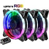 upHere Ventole ultra silenziose per case 120 mm, con LED Rosso, dissipatori di calore e radiatori per CPU 3 Set,RGB