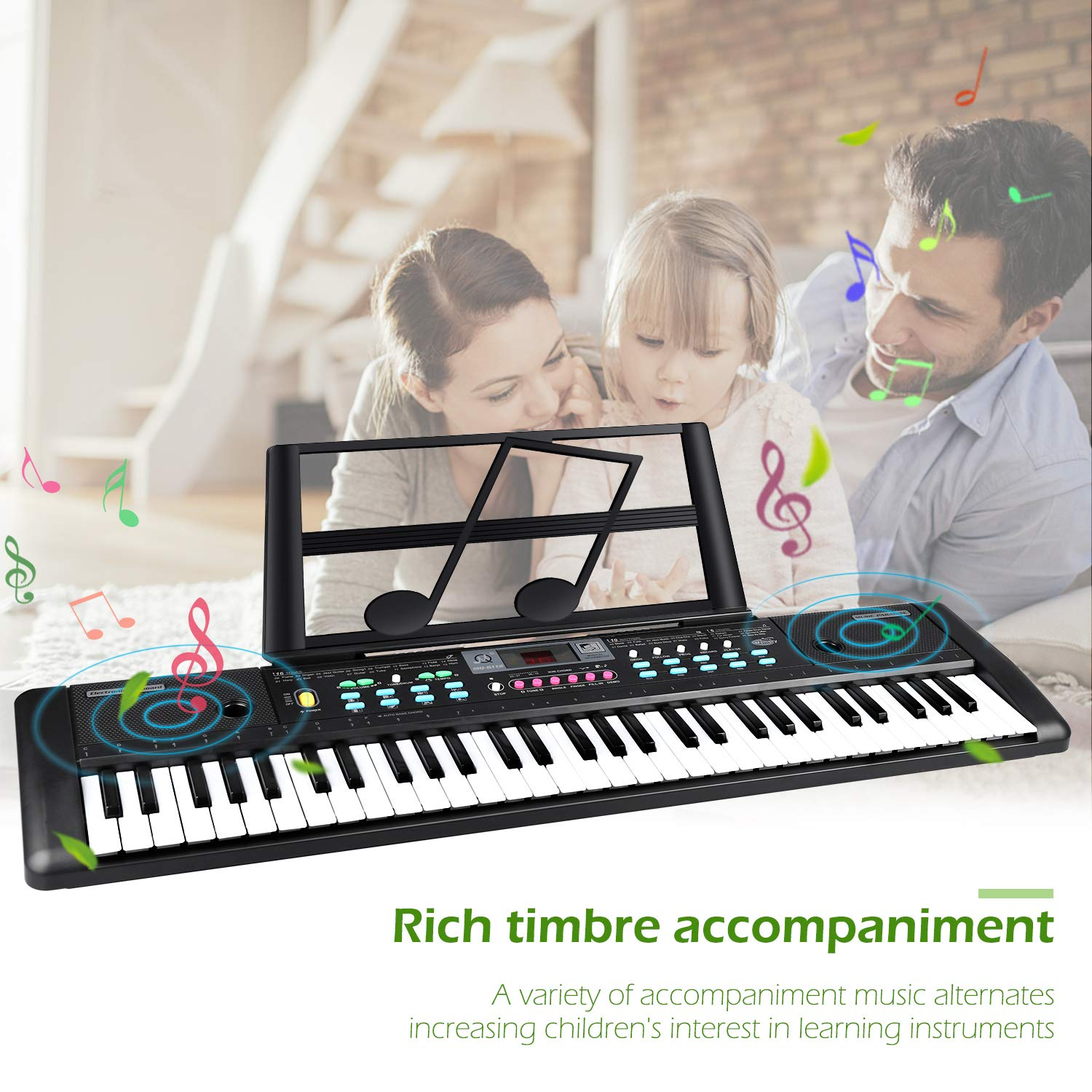 ZJTL 61-Key Digital Electric Piano Keyboard & Music Stand & microphone- Portable Electronic Keyboard (Kids & Adults) MQ-6112 by ZJTL (Image #3)