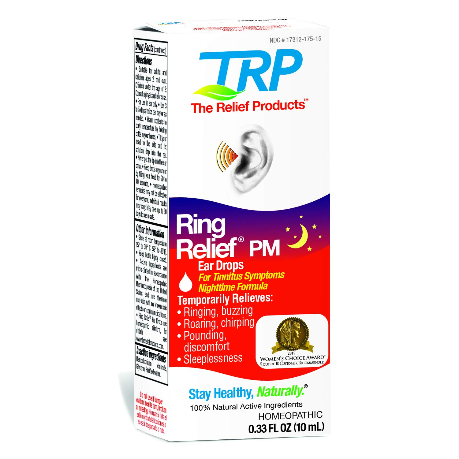 Ring Relief PM Ear Drops for Ringing in The Ears and Tinnitus Symptoms, Night time Formula