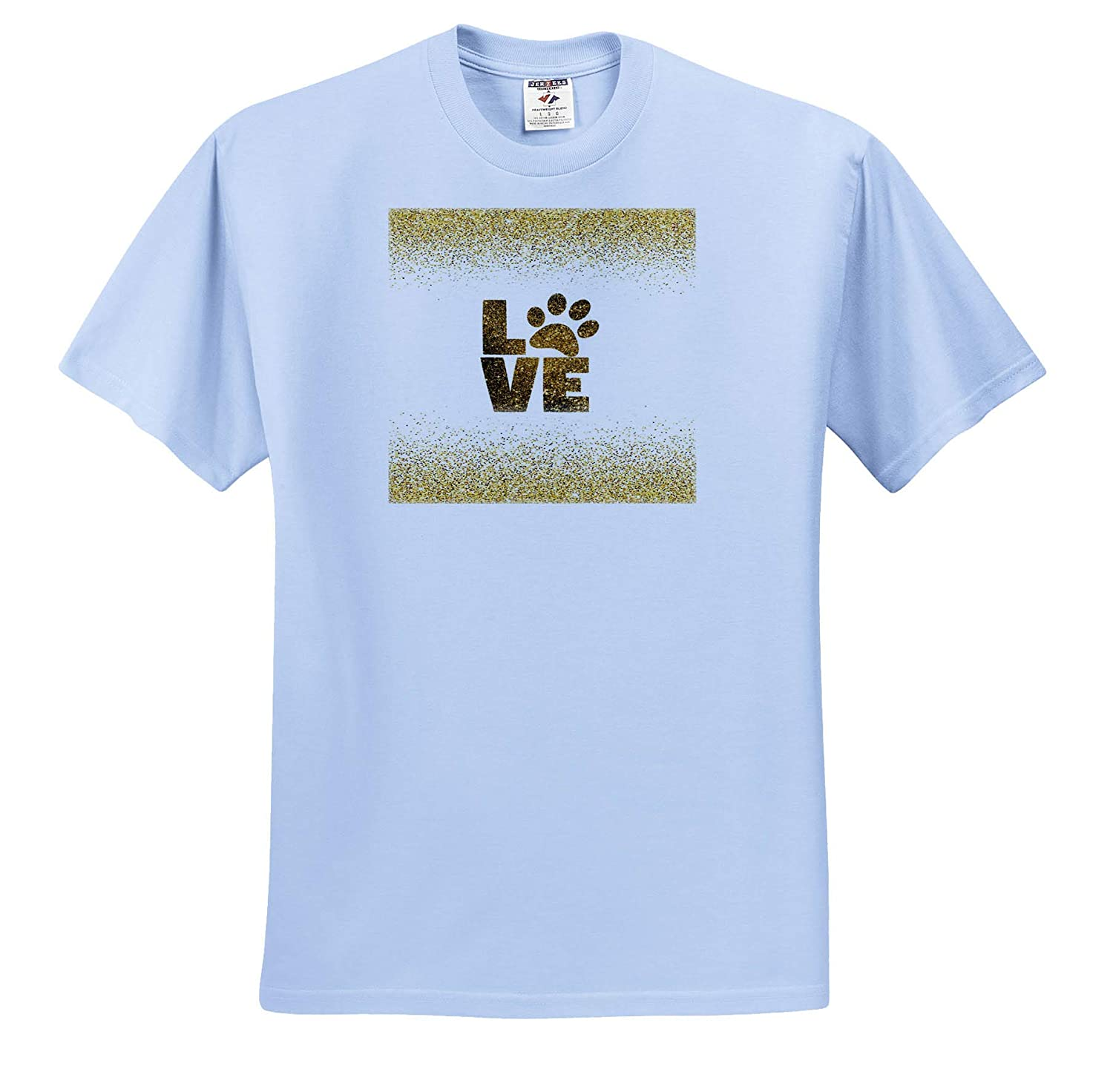 Image of Word Love with Paw On Glittery Gold 3dRose Lens Art by Florene Everything Gold T-Shirts