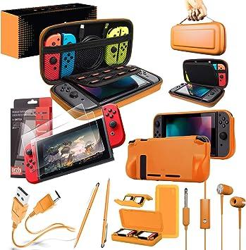 Orzly Accesorios para Nintendo Switch (Incluye: Protectores de Pantalla, Cable USB, Funda para Consola, Estuche Tarjetas de Juego, Comfort Grip para los mandos JoyCon, Auriculares) Naranja: Amazon.es: Electrónica