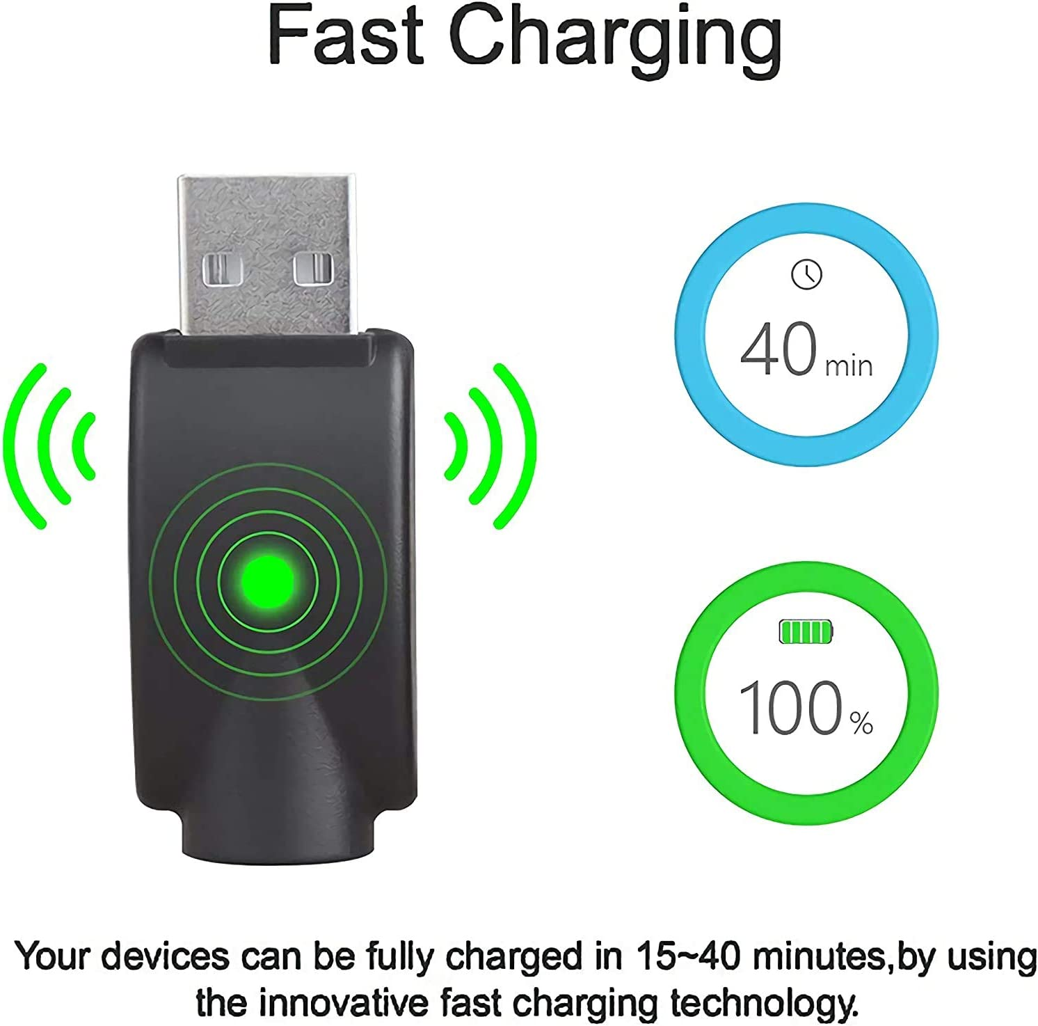 Jar-nan 【2-Pack】 USB Smart Charger Cable,Wireless Soldering Iron Charging Adapter,LED Indicators Overcharge Protection Smart Wireless USB Charger