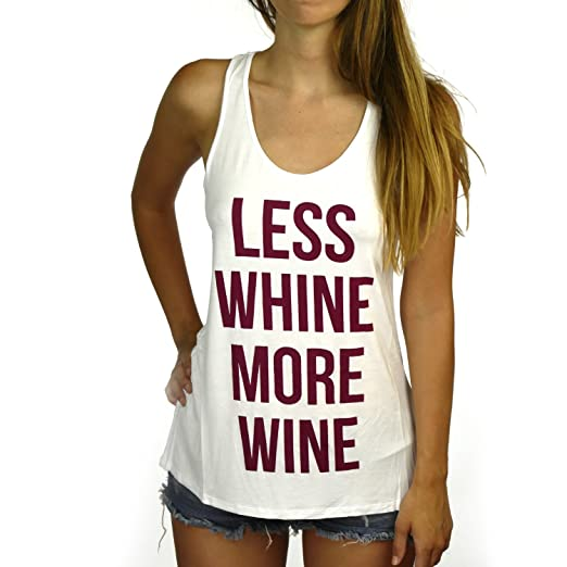 f3be87954fa11 Shop Delfina Women s Less Whine More Wine Tank Top Small at Amazon Women s  Clothing store