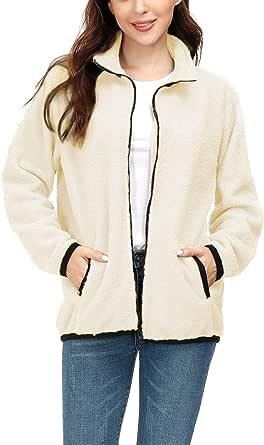 Choichic Sherpa Jacket Women Full Zip Patchwork Faux Fuzzy Casual Winter Coats with Pockets