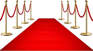 Red Carpet Runner for Party, 2x15ft ,70GSM ,Hollywood Red Carpet Roll Out for Special Event, Glamorous Movie Theme Party Decorations, Red Runway Rug for Wedding, Red Aisle Runner for Prom
