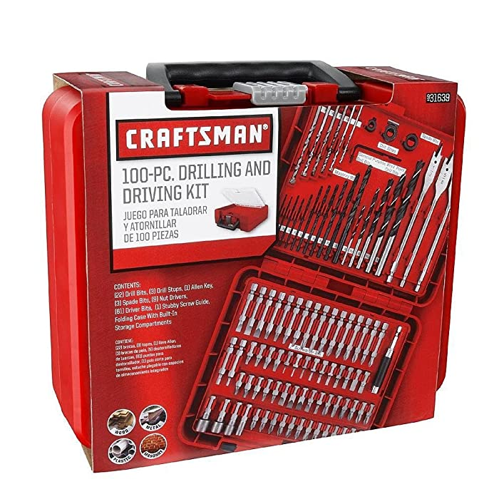 Craftsman 100-pc Accessory Set Drill Bit Driver Screw Tools Kit Case 31639, New,