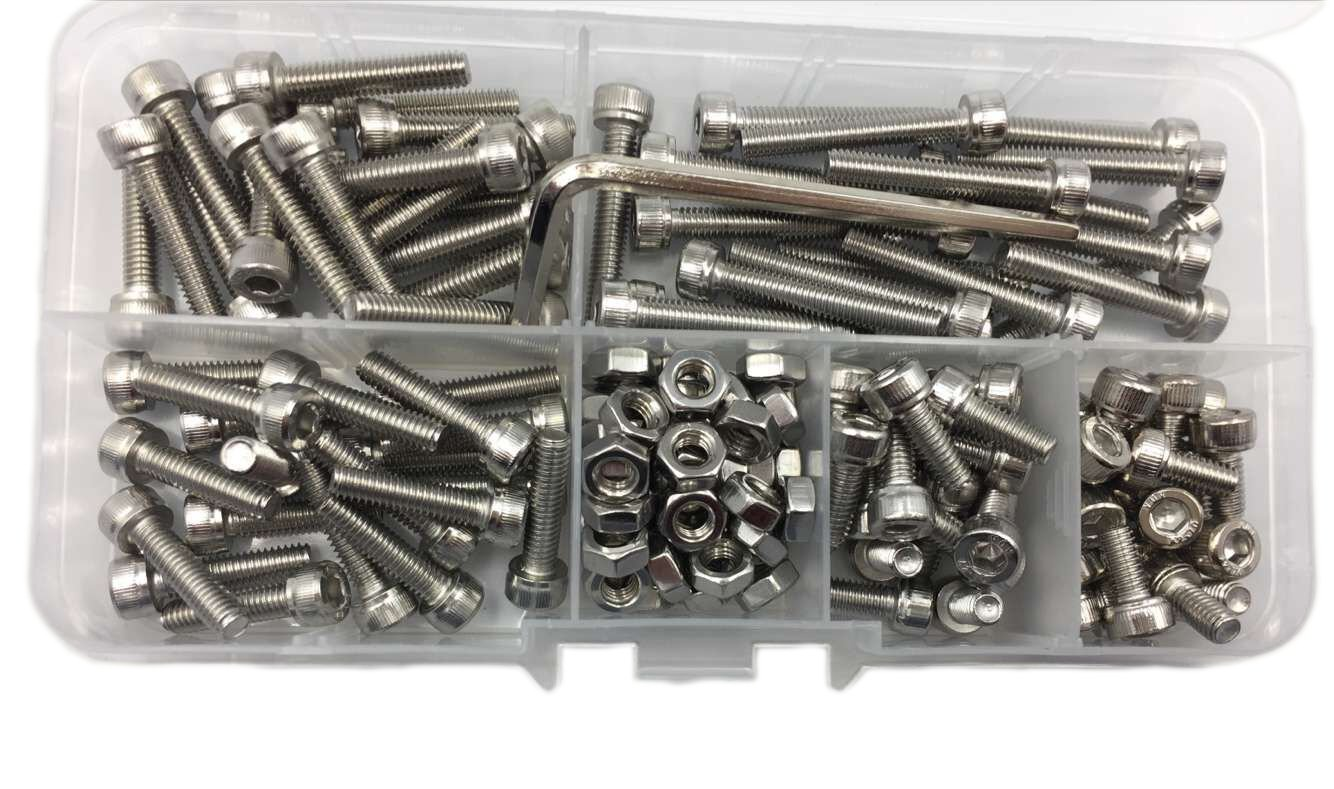 HVAZI Metric M2.5 Stainless Steel Socket Head Cap Screws//Hex Nuts//Nylon Lock nut//Flat Washer Assortment Kit