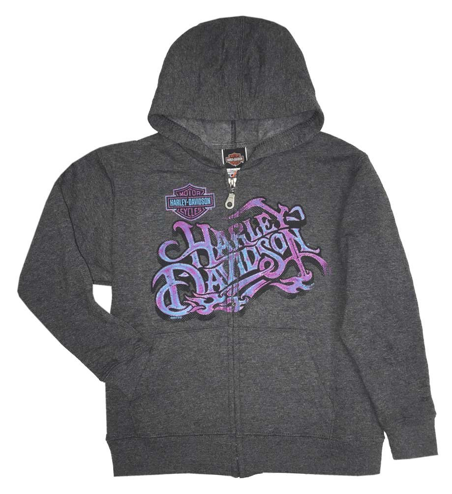 Harley-Davidson Little Girl's Rattling The Bones Full-Zip Fleece Hoodie (5) by Harley-Davidson (Image #1)