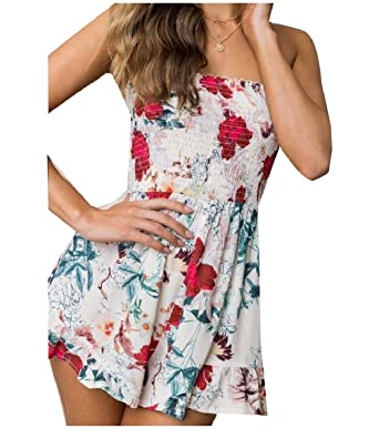 13830be8a9 Mfasica Women s Casual Printing Strapless High Waisted Playsuit Shorts  Rompers ...