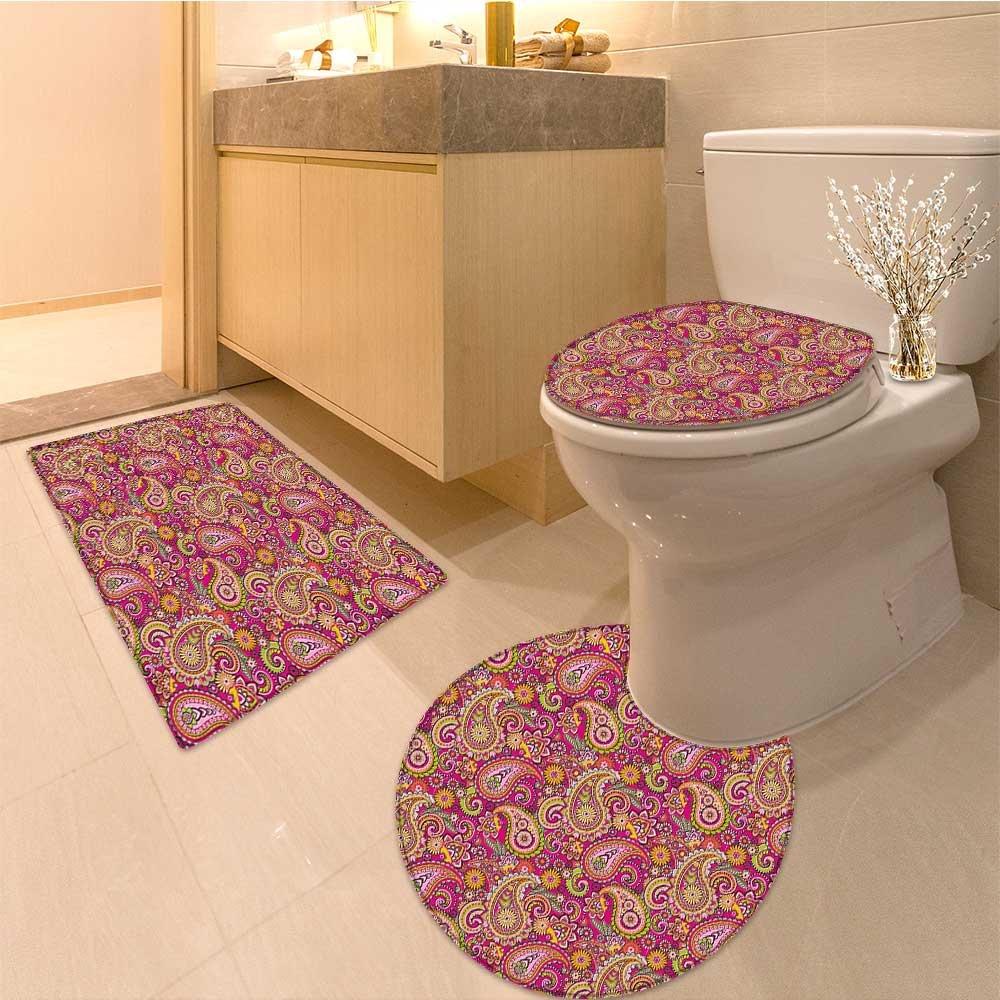 3 Piece large Contour Mat set Vivid Design with s Dots and Ornamenta Patterns Artwork Fabric Set with Hooks Long M Bathroom Rugs Contour Mat Lid Toilet Cover
