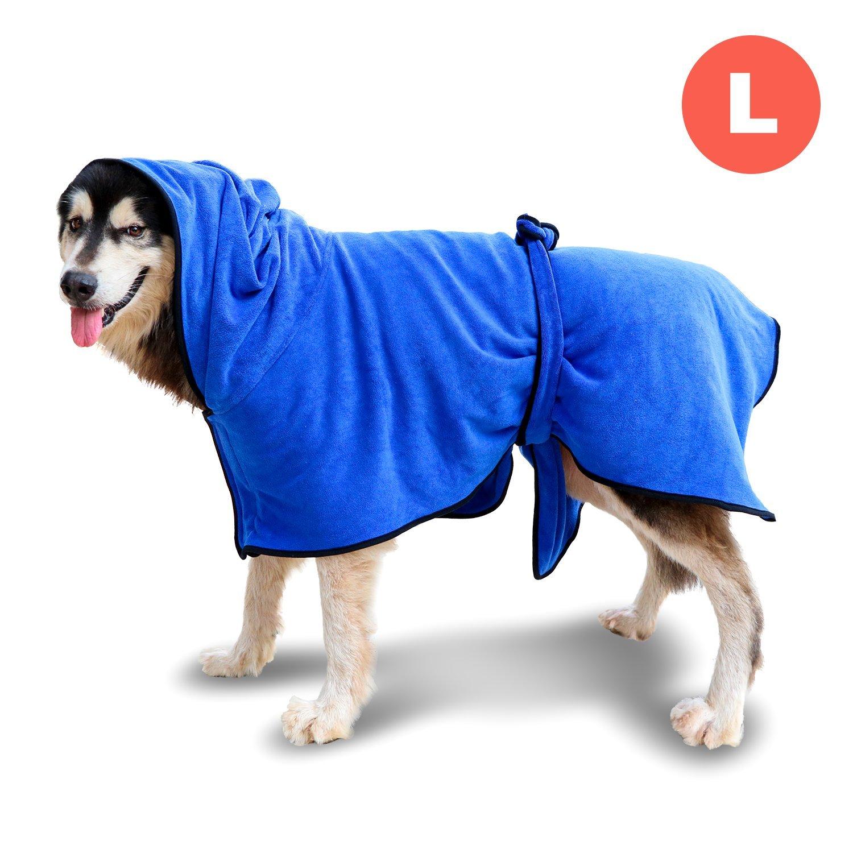 GiBot Accappatoio ad asciugatura rapida per cani in microfibra Asciugatura rapida e idrorepellente Asciugamano a secco Asciugamano super morbido per cani e gatti, X-Large, 72cm, blu