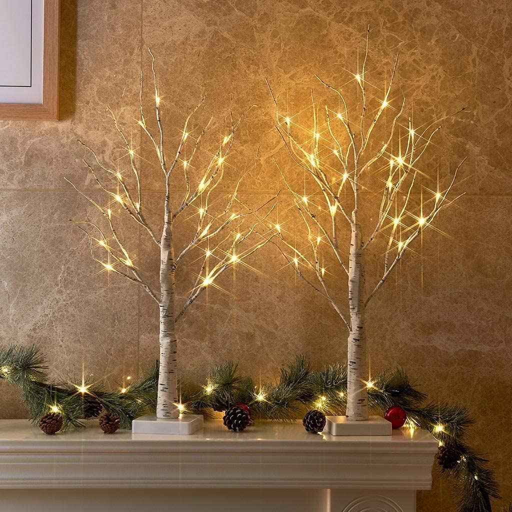 PEIDUO Set of 2 2FT 24LT Birch Tree Battery Powered Warm White LED for Home Decoration, Wedding.