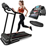 Sportstech F10 treadmill with Smartphone App control, pulse belt in value of 29.90£ included, Bluetooth, 1HP, 10KM/H, for walking and running with 13 programs - compact foldable for storage
