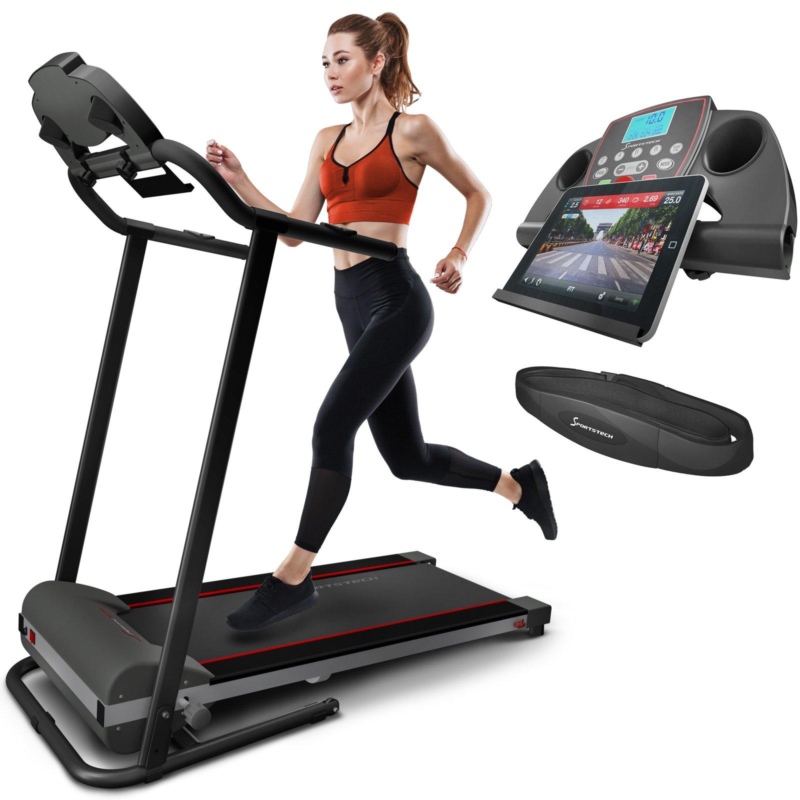 Sportstech F10 Tapis roulant elettrico pieghevole professionale Controllo via App-compatto con ruote e porta Tablet-cintura cardiofrequenzimetro inclusa Velocità massima 10km/h per correre o camminare product image