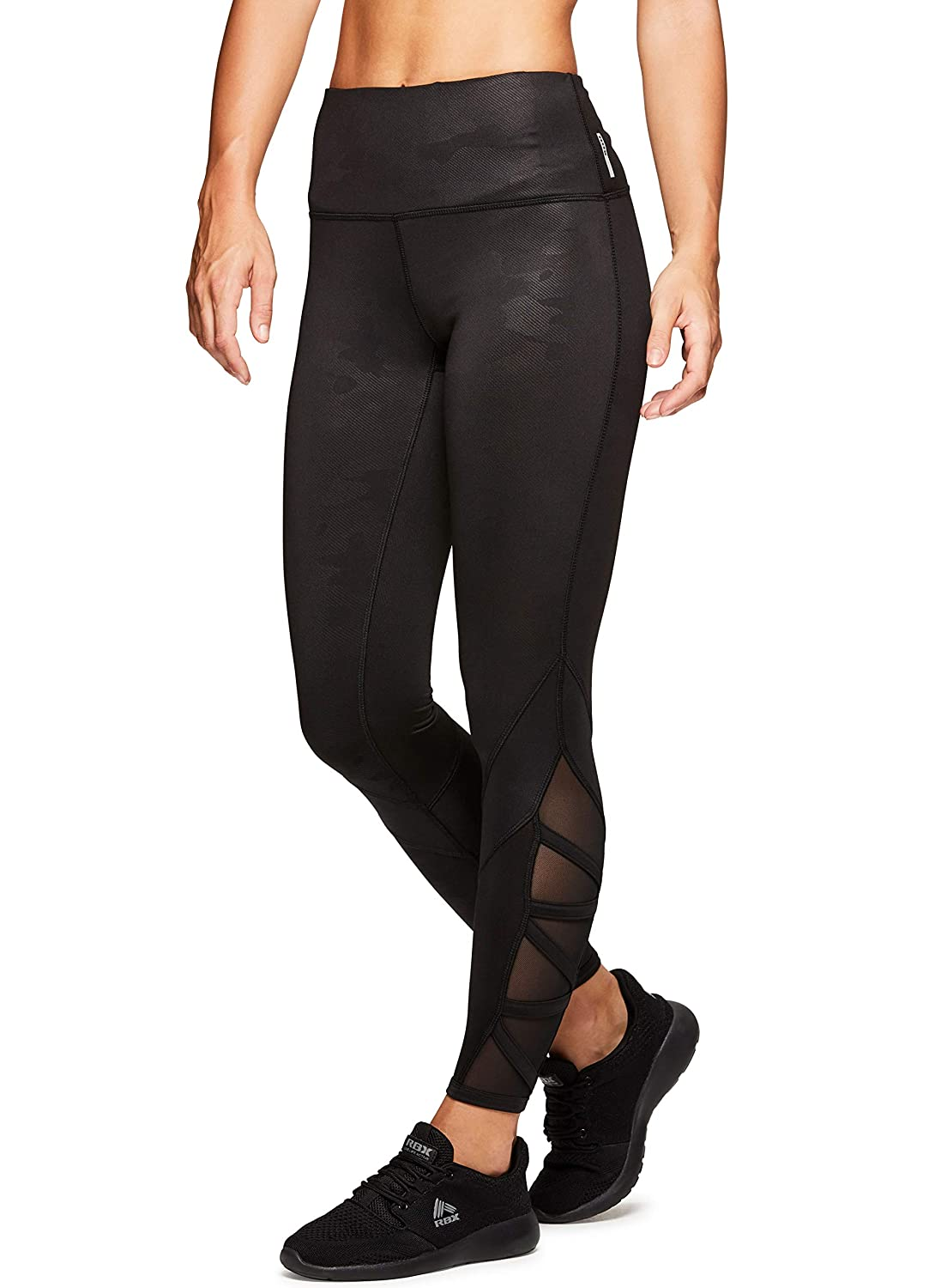 RBX Active Womens Workout Legging with Mesh Black
