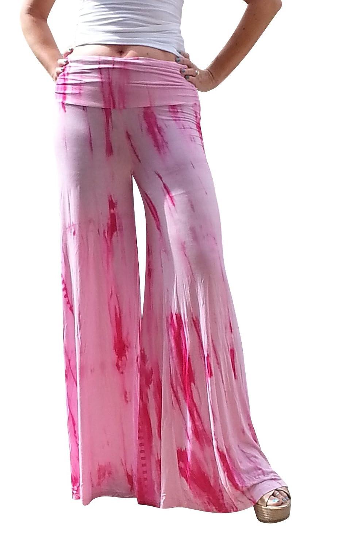 Maya Antonia Palazzo Pants Pink-White Tie-Dye Wide Leg Extra Long