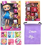 Boxy Girls Gift Bundle - (1) Willa BoxyGirls Doll with 12 Surprises + (1) Fashion Pack with 20 Surprises + (6) Shopkins Stickers with Compatible Toy Storage Bag!