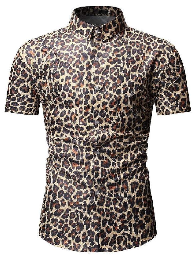 Fubotevic Mens Leopard Print Short Sleeve Button Up Summer Slim Shirt