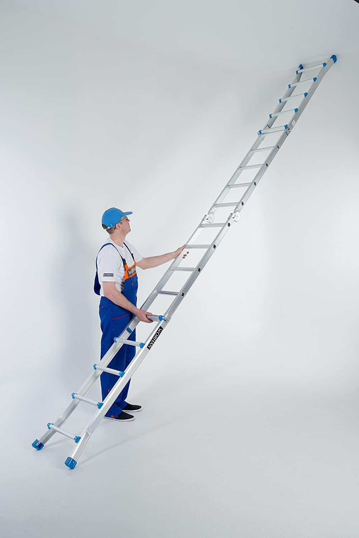 WORHAN/® Escalera 530cm Aluminio Telescopica 5.3m Multifuncion Multiuso Aluminio Plegable Tijera L5