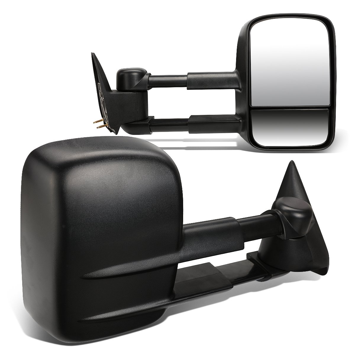 For Chevy GMC C/K GMT400 Pair of Black Textured Telescoping Manual Extenable Side Towing Mirrors