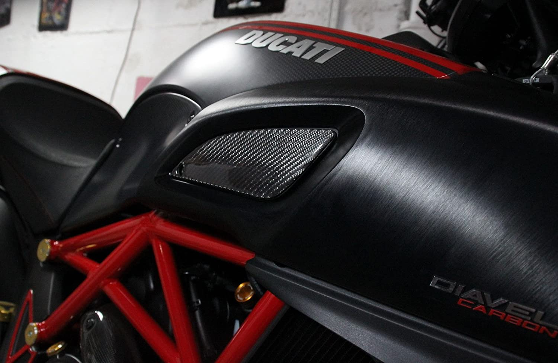Left + Right RZ Moto Ducati Diavel Real Carbon Fiber Sides Tank Trim Sticker Cover