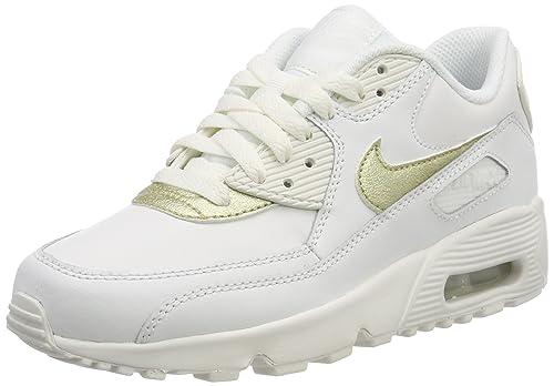 cheaper 4c8fc 4afe8 Nike Air MAX 90 LTR (GS), Zapatillas de Gimnasia para Niñas, Blanco (Summit  White Mtlc Gold Star 103), 36.5 EU  Amazon.es  Zapatos y complementos