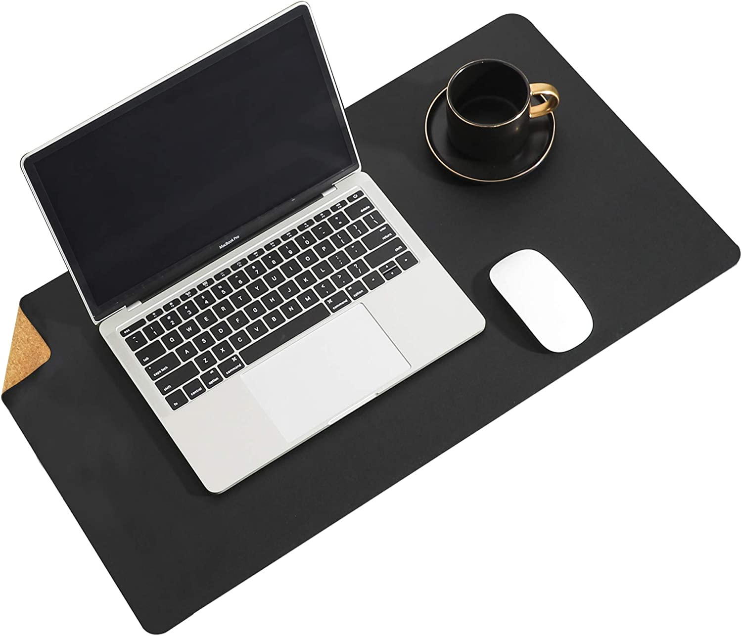 """Aothia Eco-Friendly Natural Cork & Leather Double-Sided Office Desk Pad & Mat Mouse Pad Smooth Surface Soft Easy Clean Waterproof PU Leather Desk Protector for Office/Home Game (Black,23.6""""x13.7"""")"""
