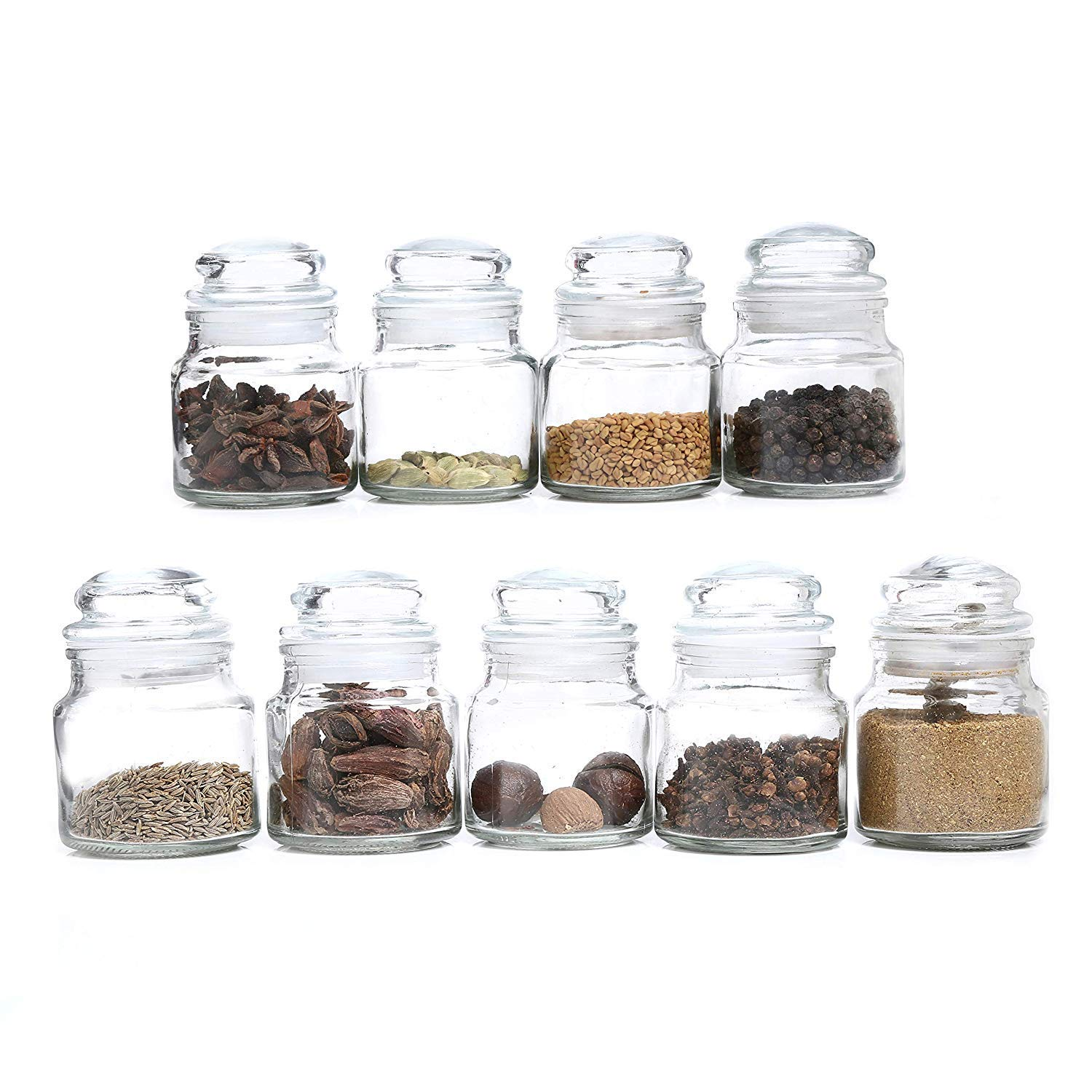 Buy DINEMART Glass Spice jar- 100 ml, 6 pieces, Transparent Online at Low  Prices in India - Amazon.in