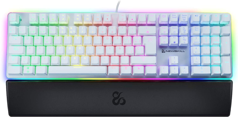 Newskill Suiko Ivory Switch Red - Teclado Mecánico Gaming con Reposamuñecas Incluido (Teclas con grabación macro, 11 modos de iluminación RGB), Blanco