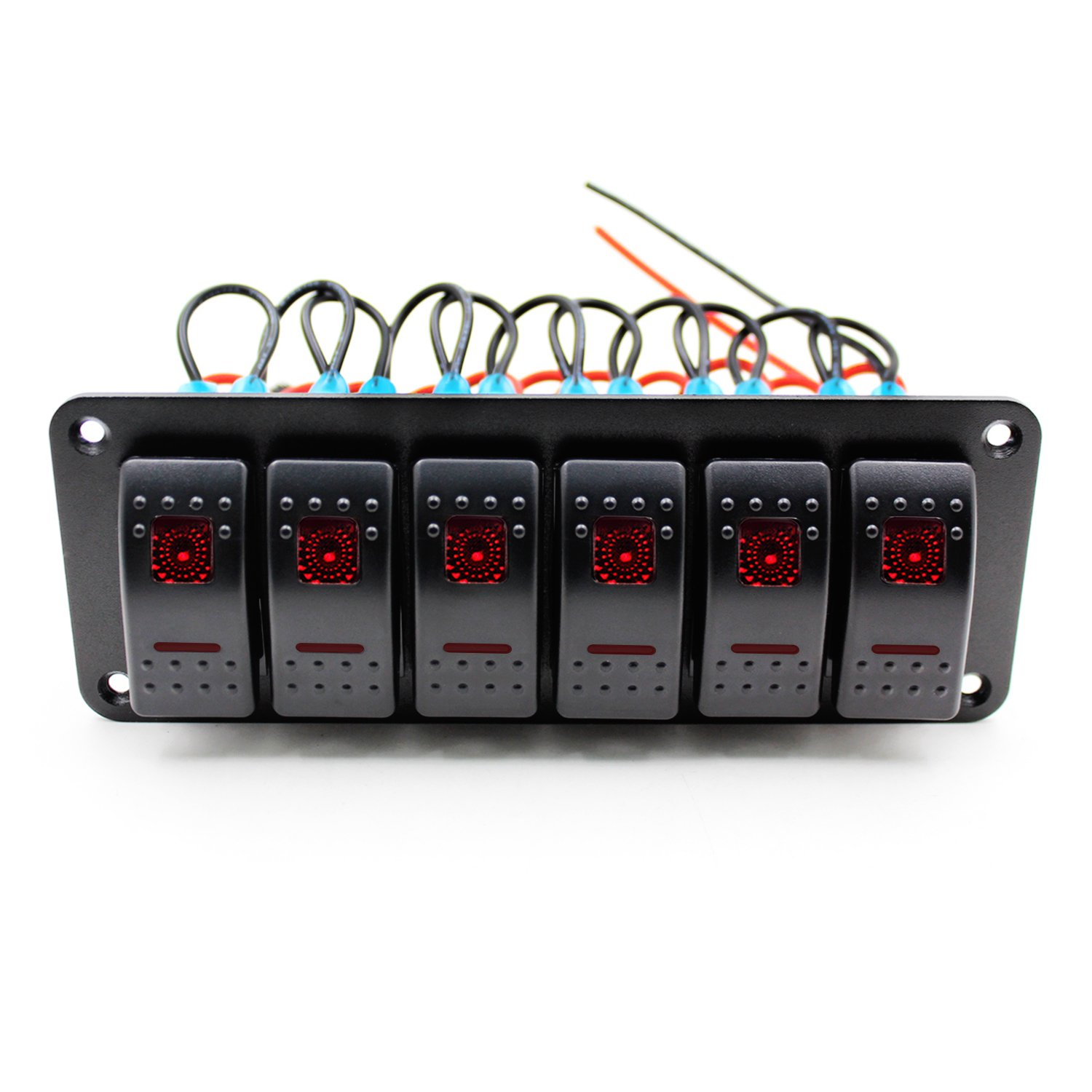 Fxc Rocker Switch Aluminum Panel 6 Gang Toggle Switches Dash 5 Pin Red Led On Off For Car Truck Suv