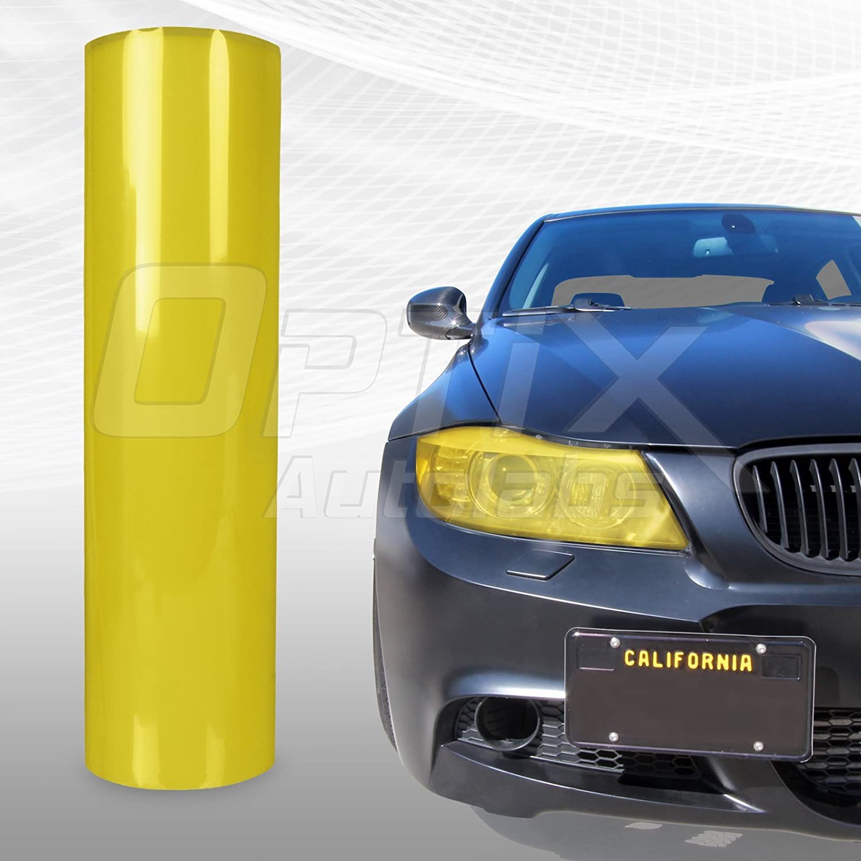 Stark 12 x 60 in 1 x 5 Ft Glossy Yellow Smoke Tint Headlights Tail Lights Fog Lights Vinyl Wrap Film