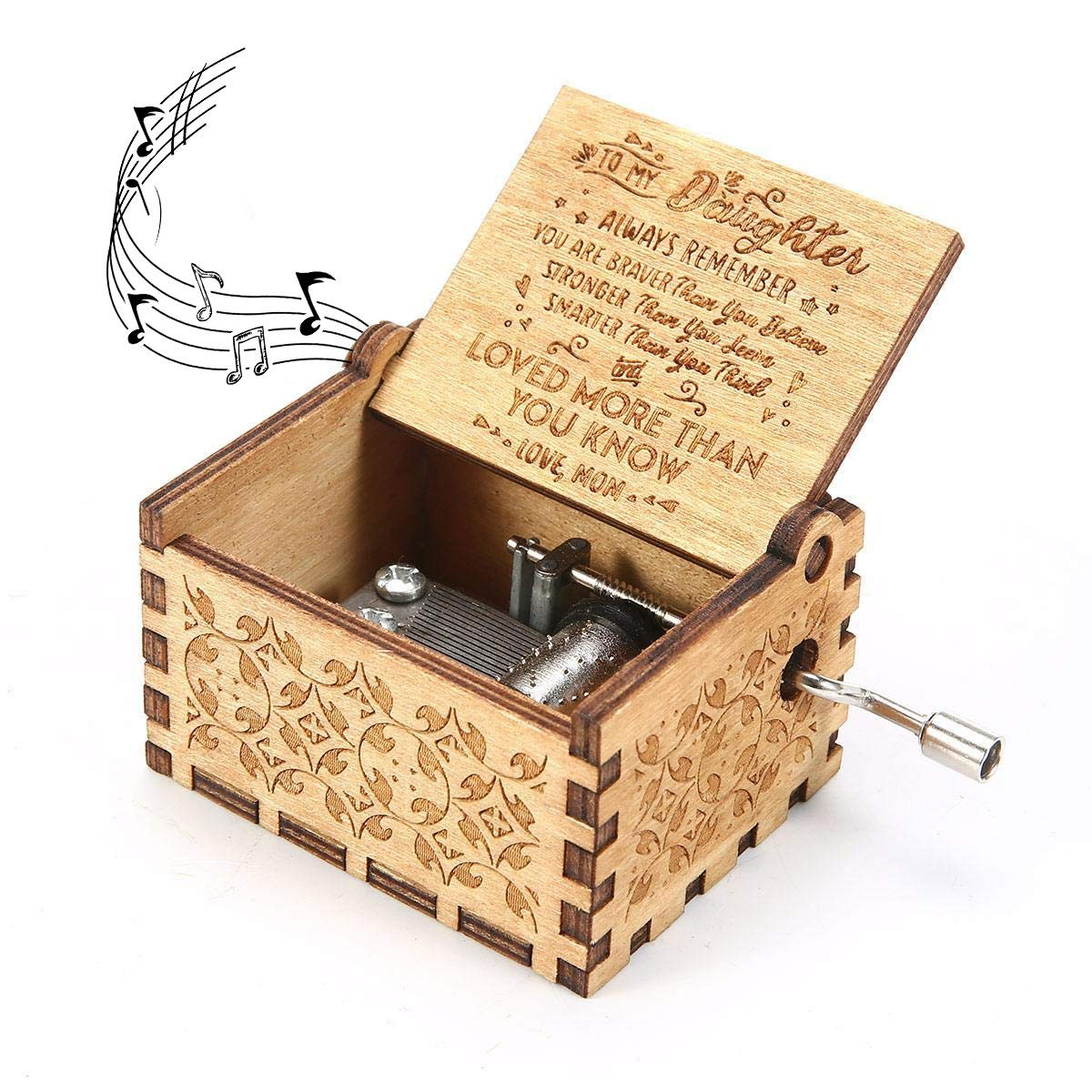 Kafete Music Box Hand Crank Engraved Musical Box-U R My Sunshine Mechanism Antique Vintage Personalizable Gift for Daughter from Mom(You are Stronger Than You Seem) by Kafete
