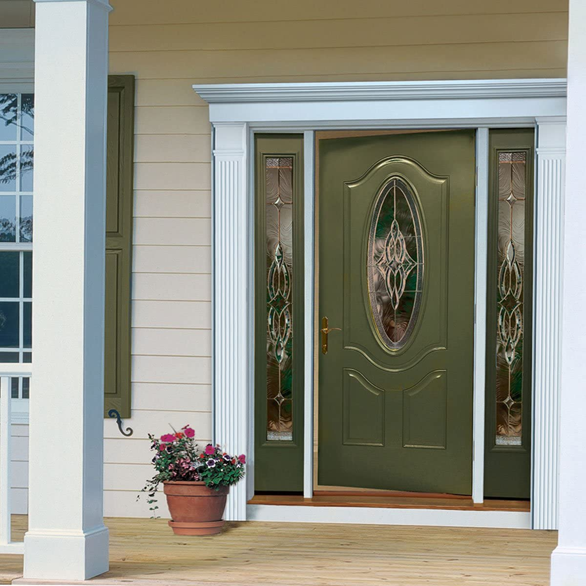 White Fypon DSKS07P569 Single Door Surround Kit with 56W x 9H Crosshead /& 7W Plain Pilasters 56 x 9