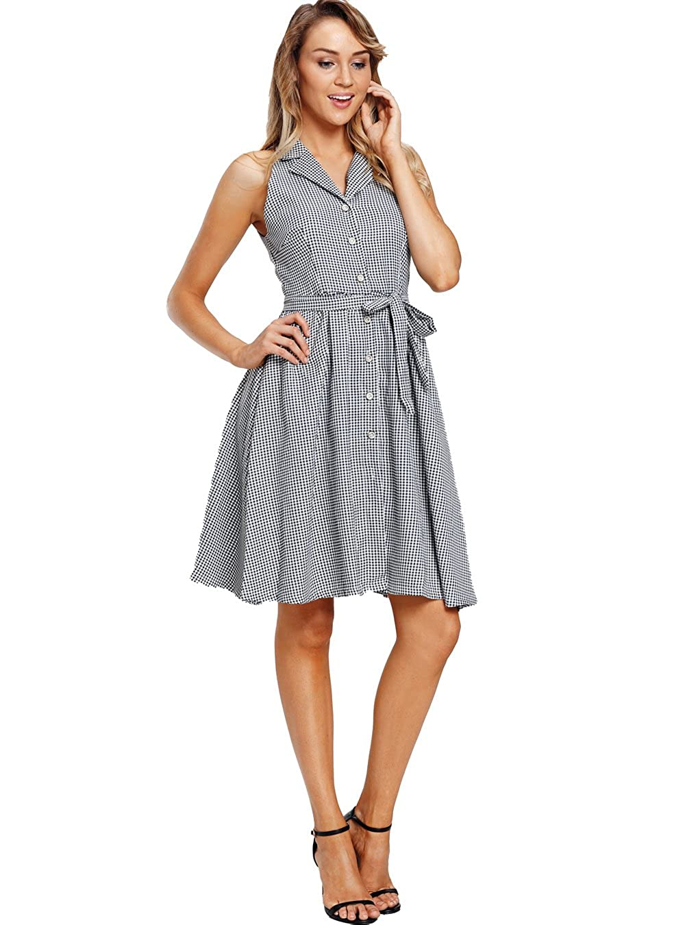 6779a68c90 PYL Women s Sleeveless Button Up Houndstooth Vintage Dress at Amazon  Women s Clothing store