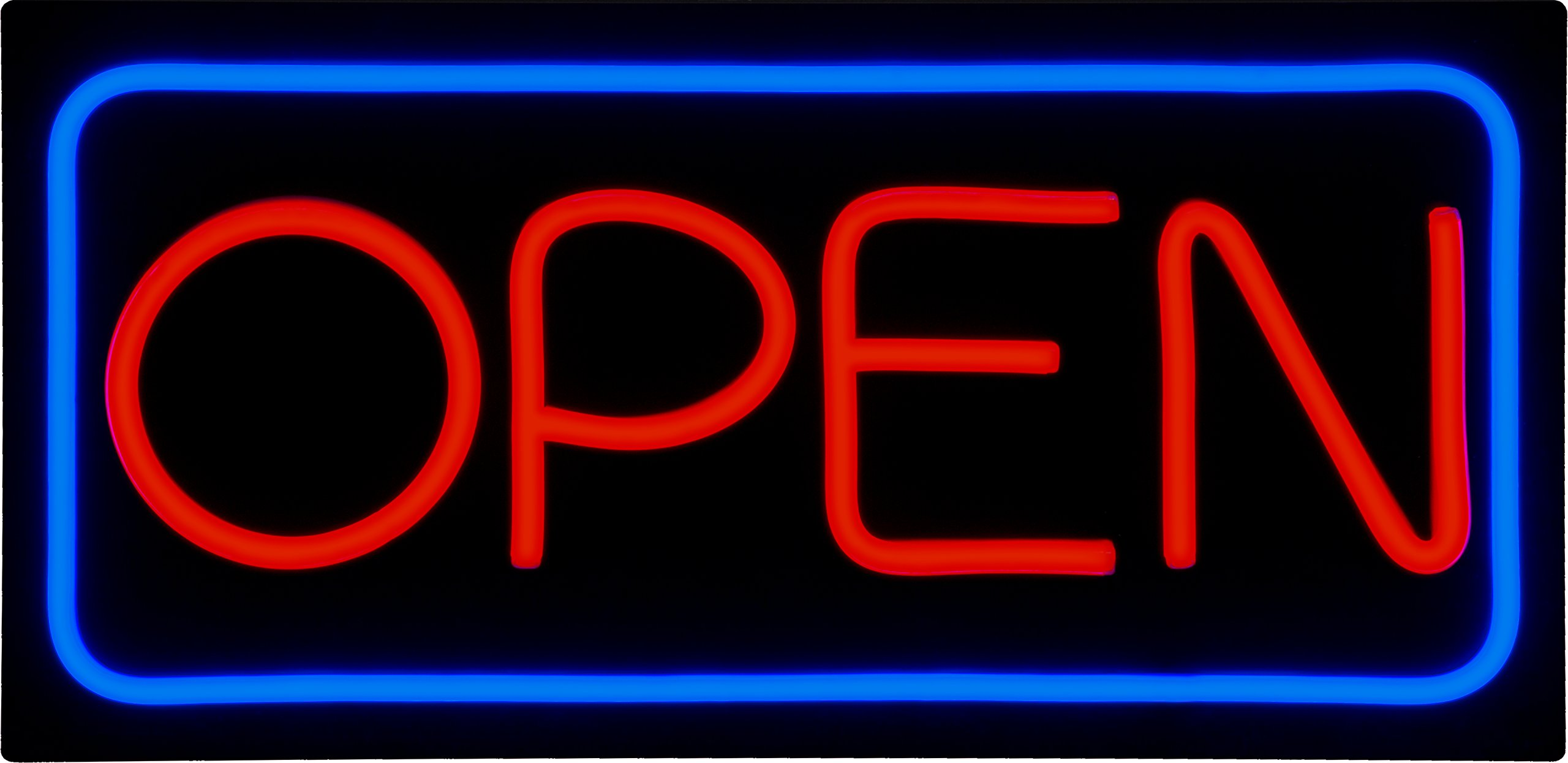 LED Open Sign BD24-5 - BuyDirectSign - Large 24x12 - Red & Blue, PVC Foamboard - Remote Control - Very Bright! - Bar, Nail Salon, Hotel, Convenience Store, Vape Shop, Smoke Shop, Any Business!