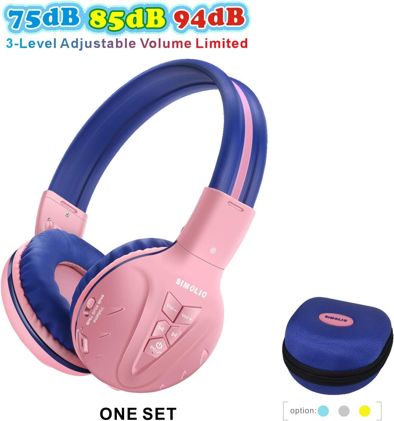 Amazon Com Simolio Bluetooth Kids Headphones Volume Limited Kids Safe Headphone With Share Jack Wireless Headphones For Kids Bluetooth Kids Headsets For Ipad Iphone Kindle Tablets Car And Gift For Girls Pink Electronics