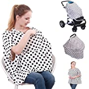 4-in-1 Nursing Top Cover: Soft and Breathable Breastfeeding Cover, Baby Car Seat and Stroller Protective Canopy, Oversized Fashion T-Shirt – Stretchy and Comfortable Poncho Shawl Polk Dot