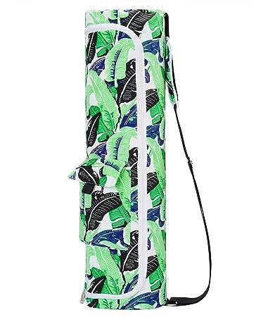 UNIFACO Women Yoga Mat Bag Full Zip Exercise Sling Carrier Bag Storage Pockets Adjustable Shoulder Strap, Fits Most Size Mats