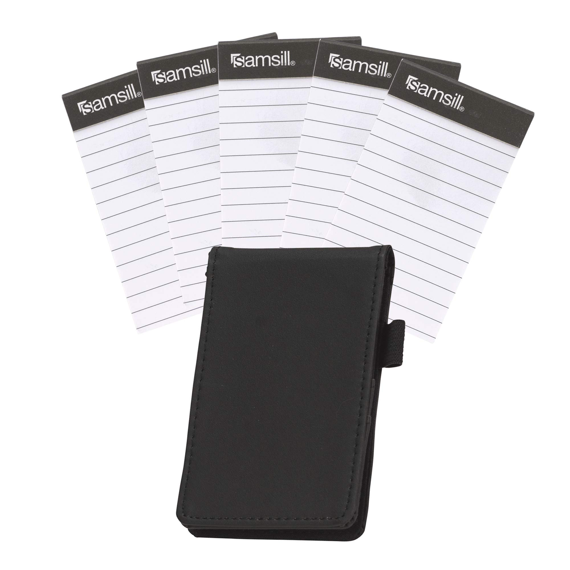 """Samsill Mini Pocket Notepad Holder and Memo Pad 5 Pack Bundle, Durable Cover, Includes Five 2 7/16 x 4 1/4"""" Sized…"""