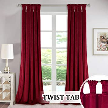 StangH Red Velvet Curtains for Theater - Twist Tab Design Decorative Drapes  for Holiday Living Room Window Dressing, Light Blocking Panels for Master  ...