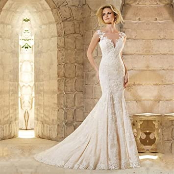73b083e2186cd LUCKY-U Wedding Dress, Lace Back Bridal Gown Elegant Bride Dress Wedding  Gown Elegant