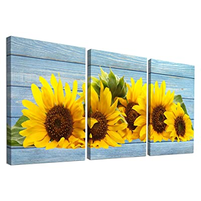 Buy Canvas Wall Art For Kitchen Family Wall Decor For Bedroom Bathroom Canvas Prints Artwork Sunflower Flowers Paintings 12 X 16 3 Pieces Framed Wall Pictures Modern Living Room Home Decorations Online