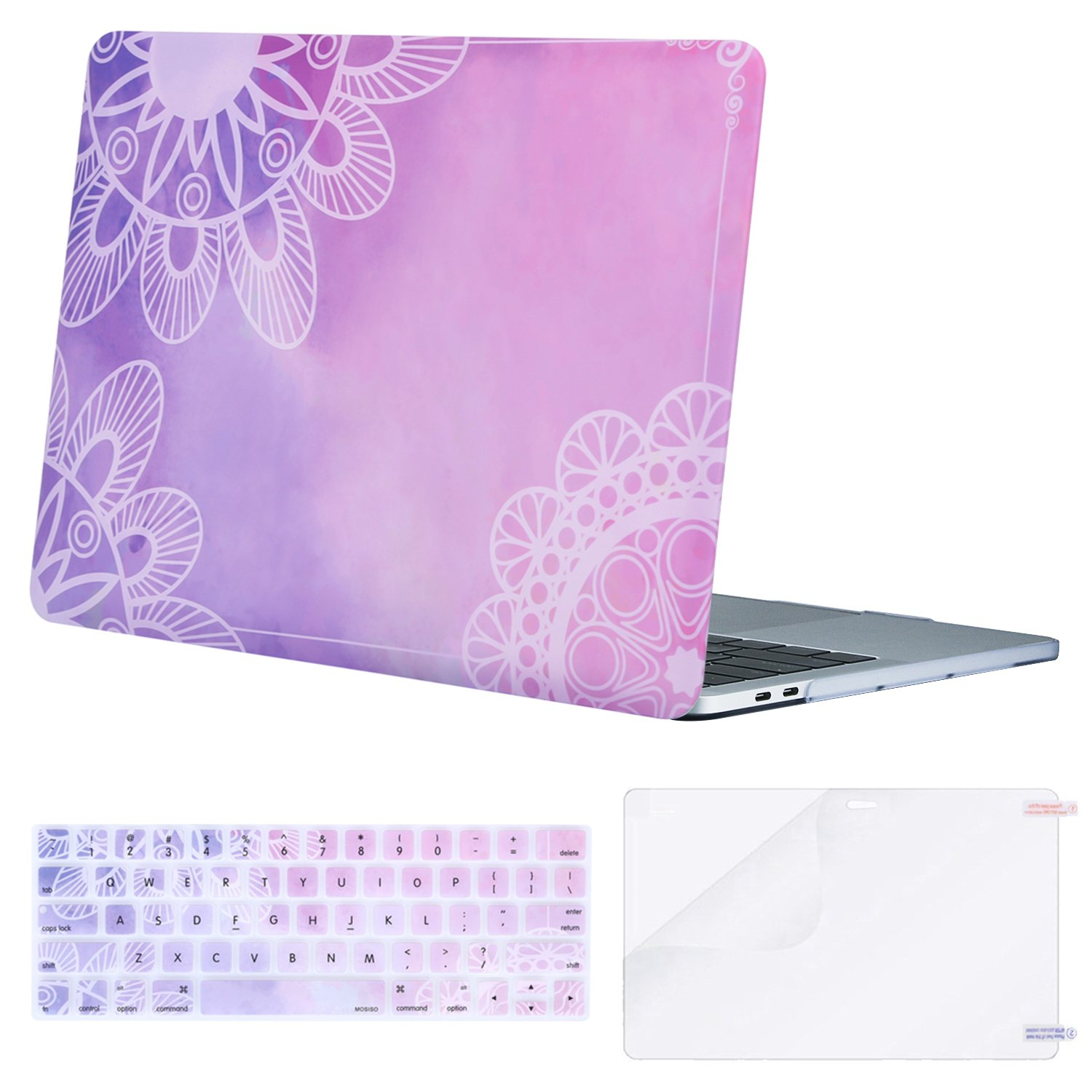 MOSISO MacBook Pro 15 inch Case 2019 2018 2017 2016 Release A1990 A1707, Plastic Pattern Hard Shell & Keyboard Cover & Screen Protector Compatible with MacBook Pro 15 Touch Bar, Watercolor Mandala by MOSISO