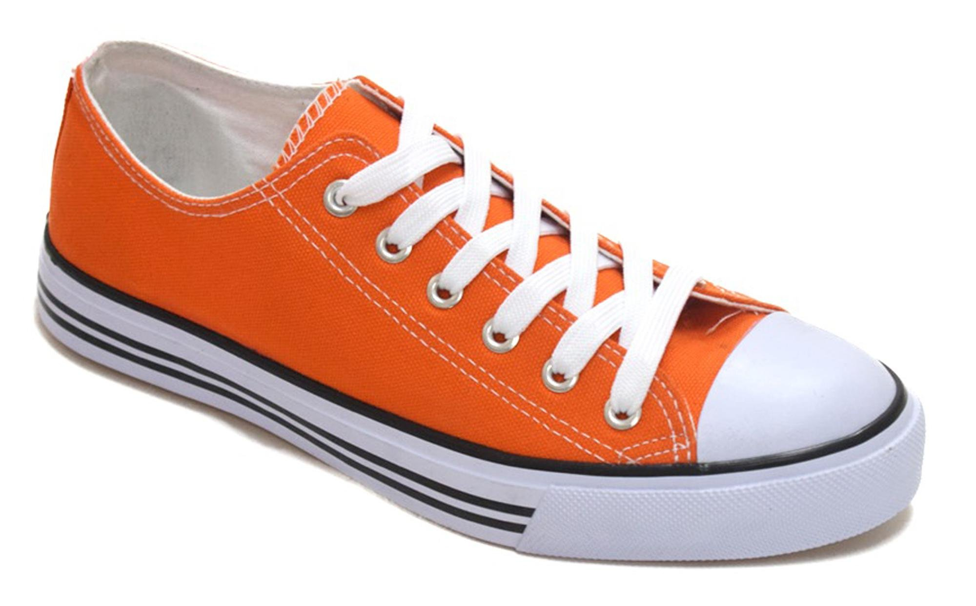 Haughty Canvas Shoes for Women Fashion Walking Shoes Ladies Sneaker Low Top Black White (6, Orange)