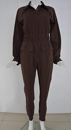 Vintage Wide Leg Pants 1920s to 1950s History Lovaru Womens Long Sleeve Button Elastic Waistband Overalls Jumpsuit Coveralls $18.99 AT vintagedancer.com
