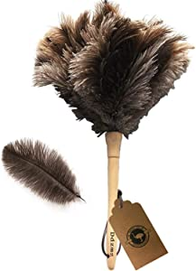 Ostrich Feather Duster,Feather Duster Fluffy Natural Genuine Ostrich Feathers with Wooden Handle and Eco-Friendly Reusable Handheld Ostrich Feather Duster Cleaning Supplies, Gray and Brown(Length 16
