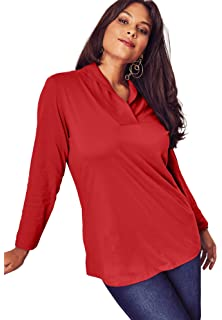 d6aeadc9 Roamans Women's Plus Size Thermal Shawl Collar Tunic at Amazon ...