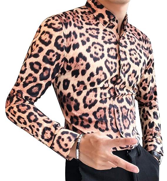 834f84ca YYG Men's Long Sleeve Casual Floral Print Slim Fit Club Leopard Print Button  Down Shirts Tops