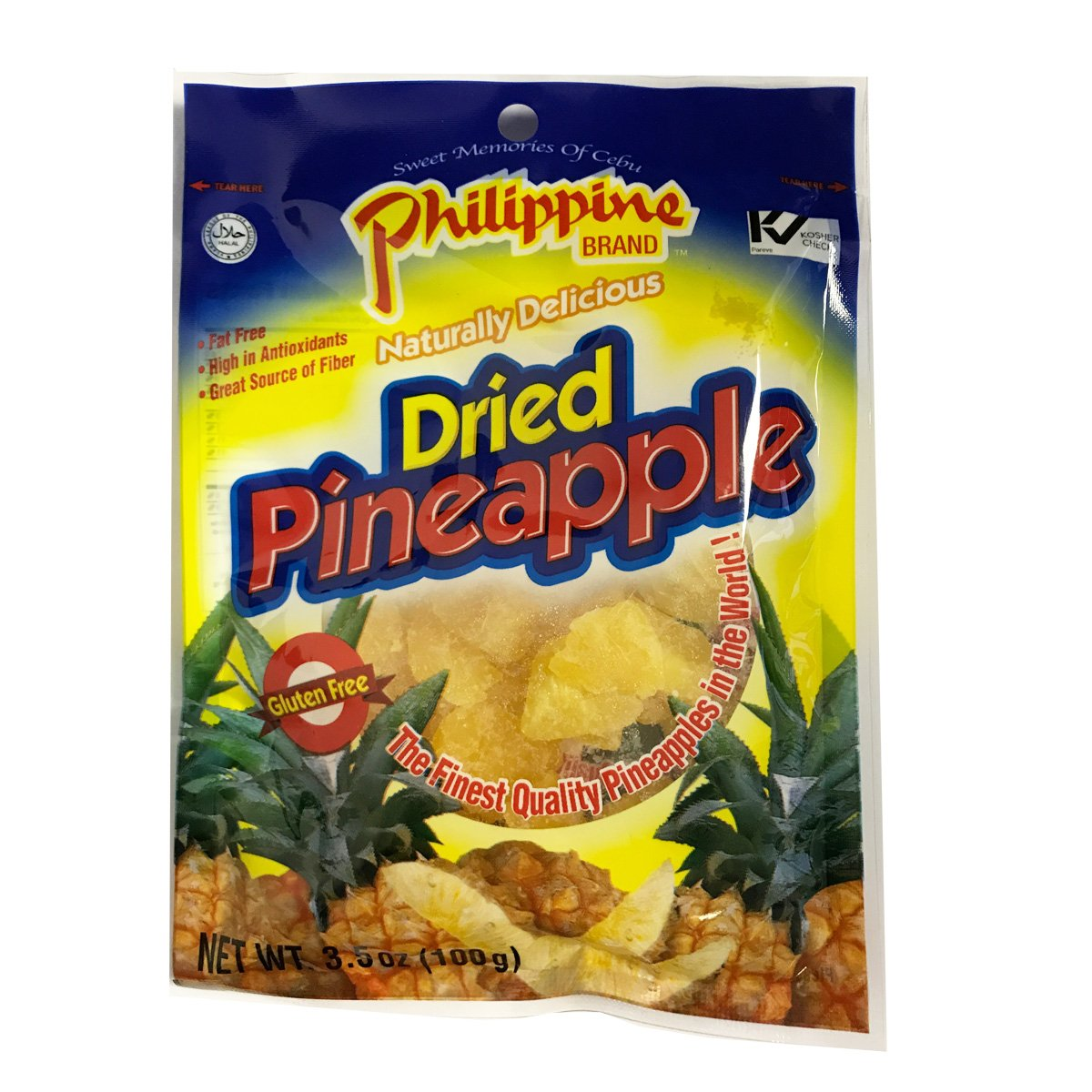 Philippine Brand Dried Pineapples, 3.5oz/100g (10 Packs) by Philippine