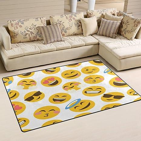 Amazon.com: WOZO Hipster Emoji Smiley Area Rug Rugs Non-Slip Floor ...